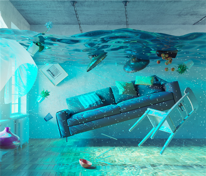An underwater view in the flooding interior.